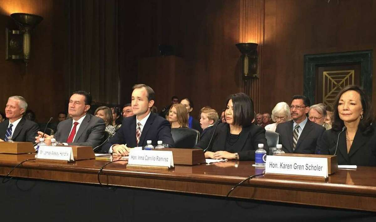 Five judicial nominees for U.S. District Court in Texas have their confirmation hearing before the Senate Judiciary Committee in Washington in September 2016. James Wesley Hendrix, Third from the left, was confirmed by the Senate for a federal judge role on Tuesday.