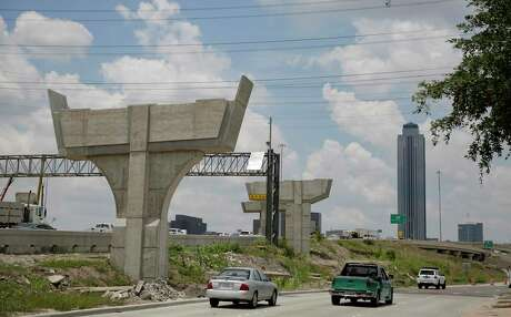 Construction of supports for new ramps continues along Interstate 69 at Loop 610 in Houston on July 11, 2019. Work on the pillars will close northbound lanes from Aug. 24 to Aug. 26.