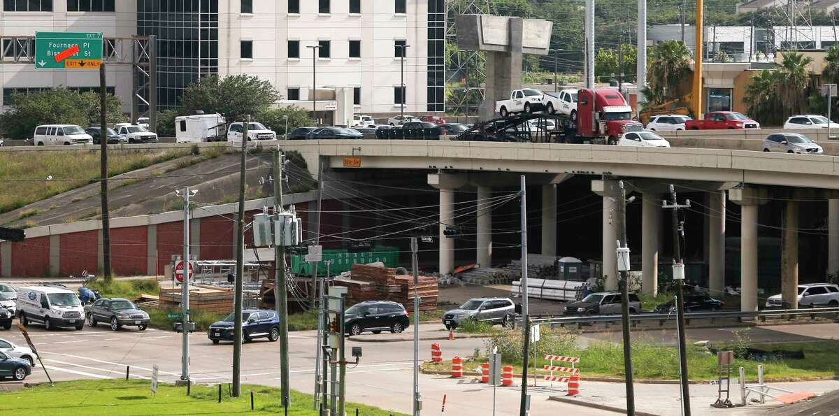 Traffic eases along Loop 610 and Westpark Drive, below, on July 10, 2019 near Uptown in Houston.