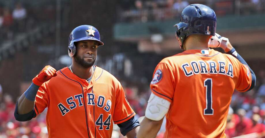 PHOTOS: Astros game-by-game Houston Astros' Yordan Alvarez (44) is congratulated by teammate Carlos Correa after hitting a solo home run during the third inning of a baseball game against the St. Louis Cardinals Sunday, July 28, 2019, in St. Louis. (AP Photo/Jeff Roberson) Browse through the photos to see how the Astros have fared in each game this season. Photo: Jeff Roberson/Associated Press