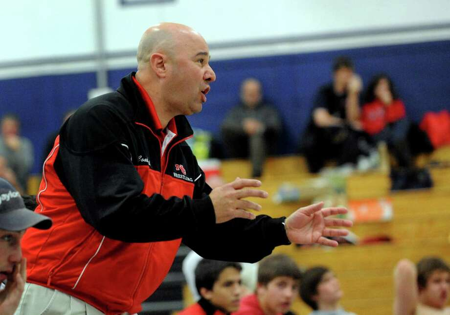 New Canaan Head Coach Paul Gallo during a wrestling meet at Staples High School in Westport in 2011. Photo: Christian Abraham / ST / Connecticut Post