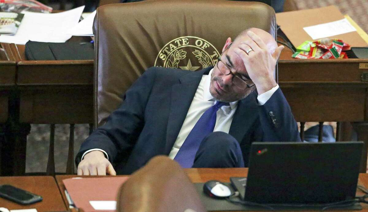 House Speaker Dennis Bonnen takes a pause from the action as lawmakers hash out final considerations for bills near the end of the Legislative session in Austin on May 21, 2019.