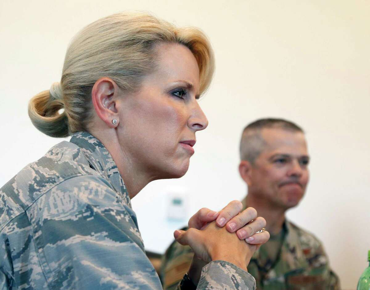 Brig. Gen. Laura Lenderman listens to questions concerning the mold issues at Lackland. A top Air Force commander, Brig. Gen. Laura Lenderman, outlined the mold issues at Joint Base San Antonio-Lackland that have sparked a firestorm of criticism from airmen and their families over the past week on Tuesday July 30, 2019 at an interview at Fort Sam Houston.