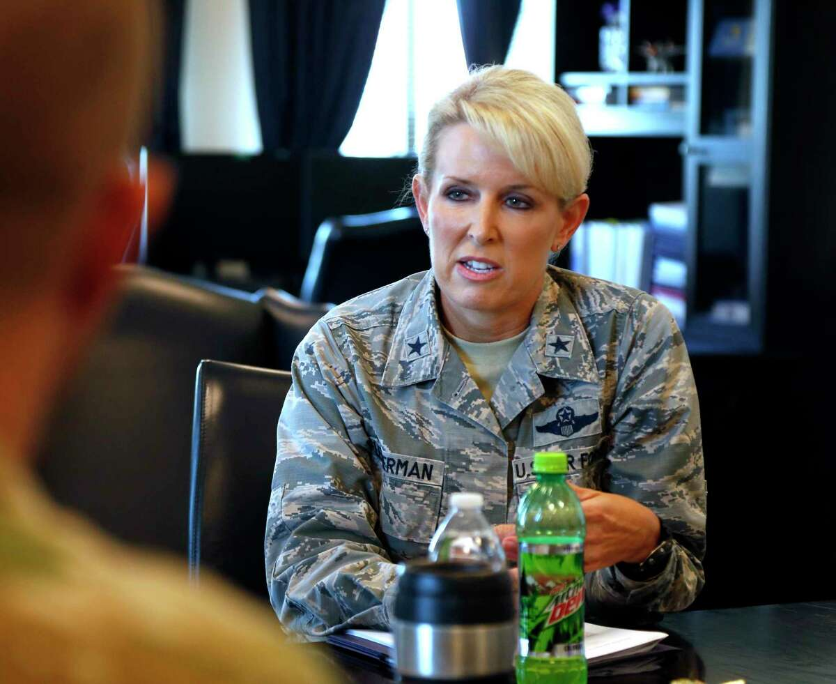 Brig. Gen. Laura Lenderman answers question concerning the mold issues at Lackland. A top Air Force commander, Brig. Gen. Laura Lenderman, outlined the mold issues at Joint Base San Antonio-Lackland that have sparked a firestorm of criticism from airmen and their families over the past week on Tuesday July 30, 2019 at an interview at Fort Sam Houston.