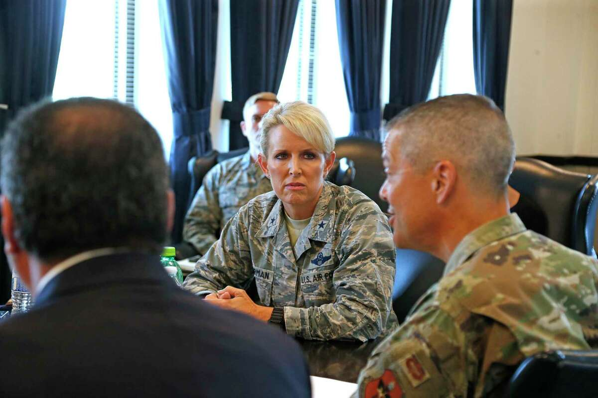 The commander of the 59th Medical Wing, Maj. Gen. John DeGoes answers questions as Brig. Gen. Laura Lenderman listens. A top Air Force commander, Brig. Gen. Laura Lenderman, outlined the mold issues at Joint Base San Antonio-Lackland that have sparked a firestorm of criticism from airmen and their families over the past week on Tuesday July 30, 2019 at an interview at Fort Sam Houston.