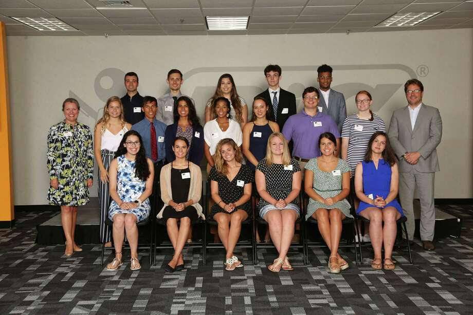 BIC Corp. recently awarded scholarships to (rear, left to right)Anthony Abed; Jonathan Feher; Alyssa Carrano; Alex Jackel; John Lewis; (middle) Mary Fox, General Manager, BIC North America Consumer Products; Sophie Lucas; Anthony Marzitelli; Christa Marzitelli; Lauren Lewis; Minna Holleck; Frank Cioffi; Alison Bodyk; Gonzalve Bich, BIC Group CEO. Bottom Row (left to right): Olivia Ceballos, Olivia Keator, Katerina Spanolios, Elizabeth Hull, Carly Brown, and Brooke Tweedie. Photo: Contributed Photo / Connecticut Post