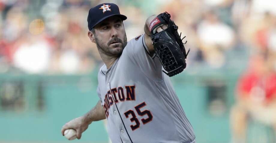 Houston Astros starting pitcher Justin Verlander delivers in the first inning of a baseball game against the Cleveland Indians, Tuesday, July 30, 2019, in Cleveland. (AP Photo/Tony Dejak) Photo: Tony Dejak/Associated Press