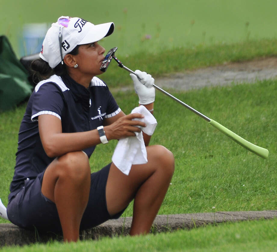 Julieta Granada kisses her putter on the final hole of the CDPHP Open at Capital Hills at Albany, the Albany stop for the women's professional Symetra golf tour, on Sunday, July 28, 2019. She was laughing with her mom/caddie Rosa. The Olympian finished tied for 16th at -7. She is on track to earn an exemption to the LPGA tour for the 2020 season. (Joyce Bassett / Times Union) Photo: Joyce Bassett