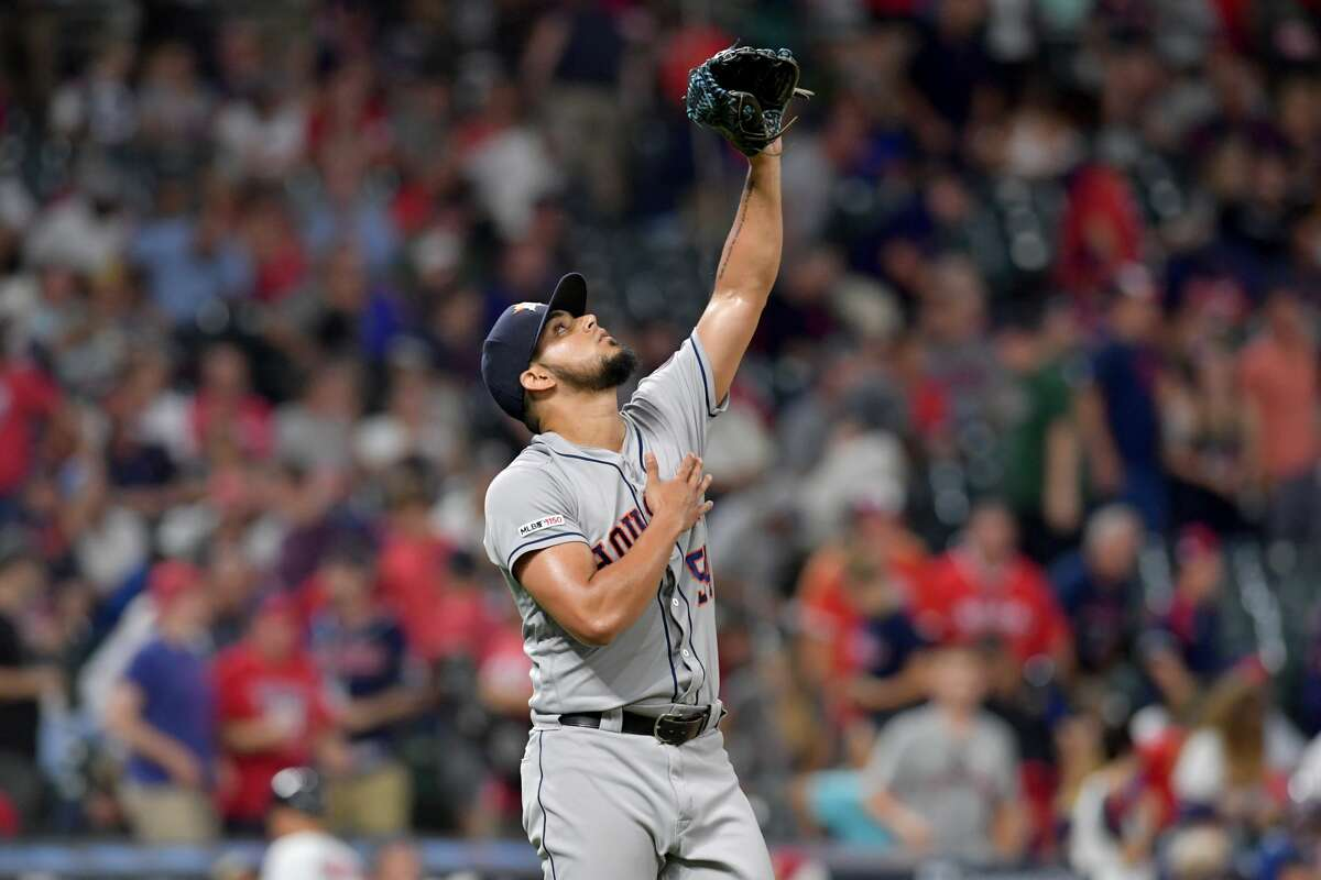CLEVELAND, OHIO - JULY 30: Closing pitcher Roberto Osuna #54 of the Houston Astros celebrates after Houston defeated the Cleveland Indians at Progressive Field on July 30, 2019 in Cleveland, Ohio. The Astros defeated the Indians 2-0. (Photo by Jason Miller/Getty Images)
