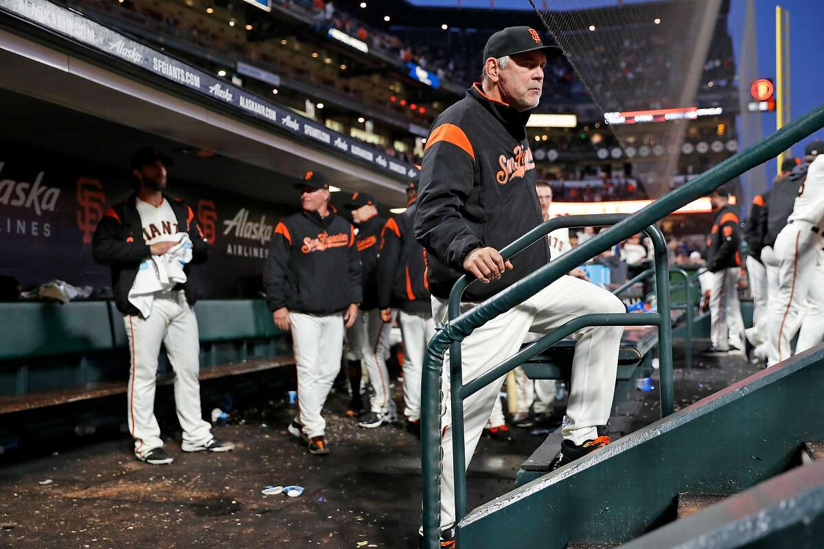 San Francisco Giants' manager Bruce Bochy during 13 inning win over Chicago Cubs in MLB game at Oracle Park in San Francisco, Calif., on Tuesday, July 23, 2019.