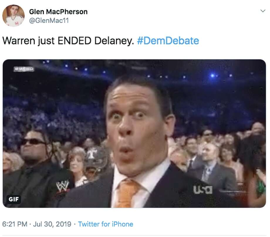 Several people who were watching night one of the second Democratic debate said on Twitter that U.S. Senator Elizabeth Warren ended John Delaney's presidential campaign in a single moment on Tuesday. Photo: Screenshot Via Twitter