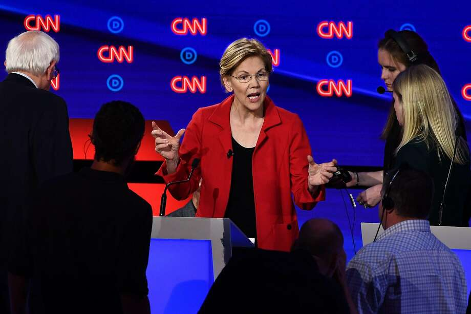 Democratic presidential hopeful US Senator from Massachusetts Elizabeth Warren speaks onstage during a break in the first round of the second Democratic primary debate of the 2020 presidential campaign season hosted by CNN at the Fox Theatre in Detroit, Michigan on July 30, 2019. (Photo by Brendan Smialowski / AFP)BRENDAN SMIALOWSKI/AFP/Getty Images Photo: Brendan Smialowski, AFP/Getty Images