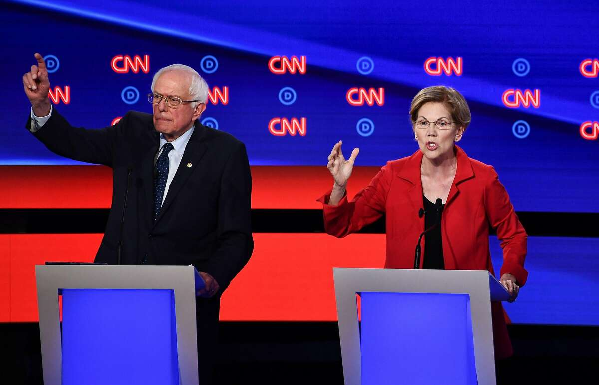 Democratic presidential hopefuls US senator from Vermont Bernie Sanders and US Senator from Massachusetts Elizabeth Warren participate in the first round of the second Democratic primary debate of the 2020 presidential campaign season hosted by CNN at the Fox Theatre in Detroit, Michigan on July 30, 2019. (Photo by Brendan Smialowski / AFP)BRENDAN SMIALOWSKI/AFP/Getty Images