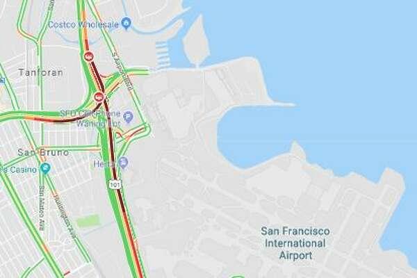 Traffic builds up behind blocked northbound 101 lanes near SFO ... on ksl traffic, kron 4 traffic, kfmb traffic, wgn traffic, abc traffic,