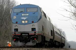 An Amtrak train stops in Wallingford after a pedestrian was struck.