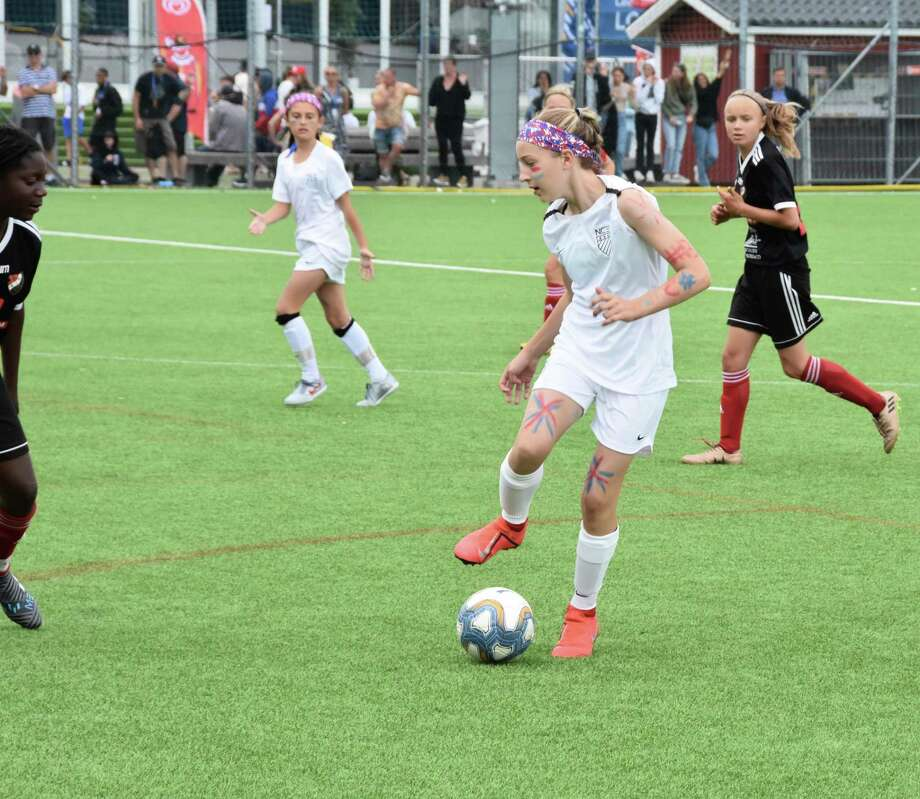 Sara Rieger controls the ball during a game at the Gothia Cup in Sweden. Photo: Rob Rieger / Contributed Photo