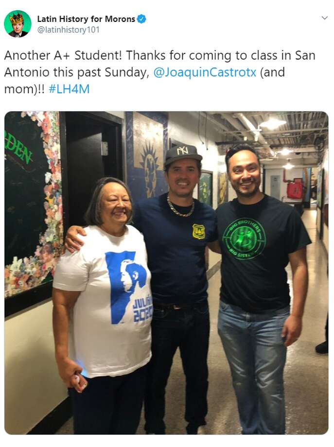 "The official Twitter account for John Leguizamo's ""Latin History for Morons"" shared a photo of the actor with Joaquin and Rosie Castro, saying ""Another A+ Student! Thanks for coming to class in San Antonio this past Sunday, @JoaquinCastrotx (and mom)!!"" Photo: Twitter Screengrab"