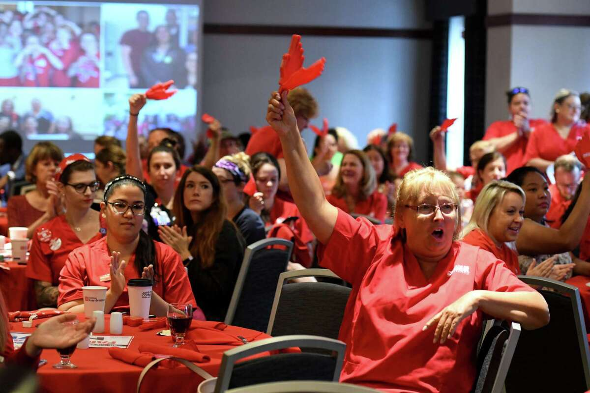 Chris Helm, who has work as a registered nurse at Albany Medical Center for 39 years, cheers during a forum held by the New York State Nurses Association to address what they say are, staffing and retention issues for nurses at Albany Medical Center on Wednesday, July 31, 2019, at the Hilton Garden Inn in Albany, N.Y. (Will Waldron/Times Union)