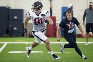 Houston Texans tight end Kahale Warring (81) runs a pass route during training camp at the Methodist Training Center on Wednesday, July 31, 2019, in Houston.