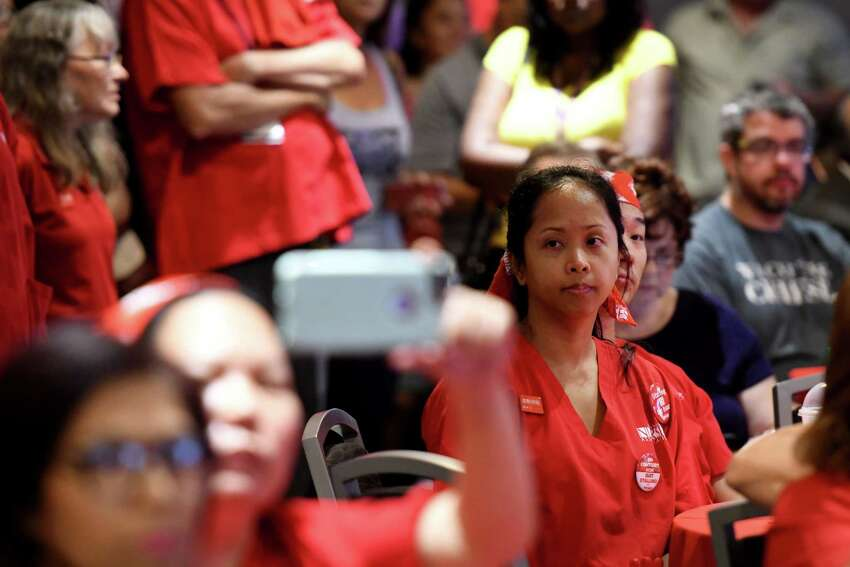Nurses from Albany Medical Center attend a forum held by the New York State Nurses Association to address what they say are, staffing and retention issues for nurses at Albany Medical Center on Wednesday, July 31, 2019, at the Hilton Garden Inn in Albany, N.Y. (Will Waldron/Times Union)