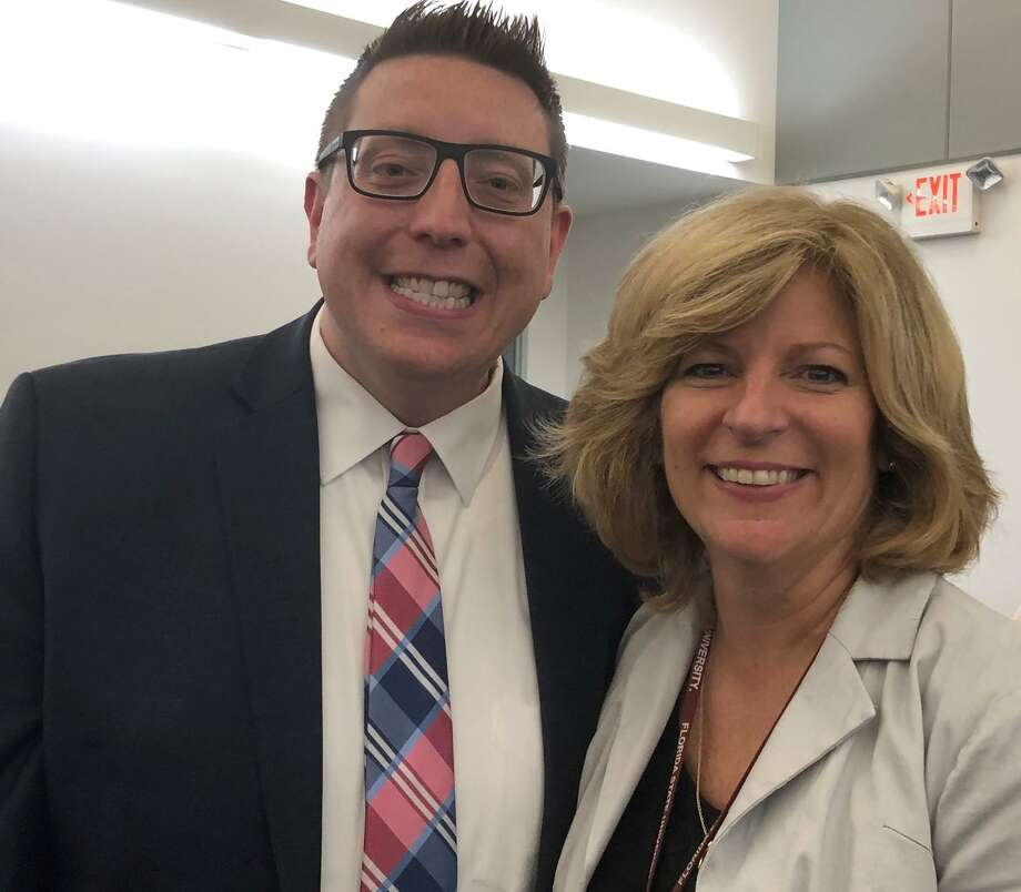 Matt Correia, the new principal at Newtown's Reed Intermediate School, and Anne Uberti, the recently appointed assistant superintendent for Newtown schools. Photo: Twitter