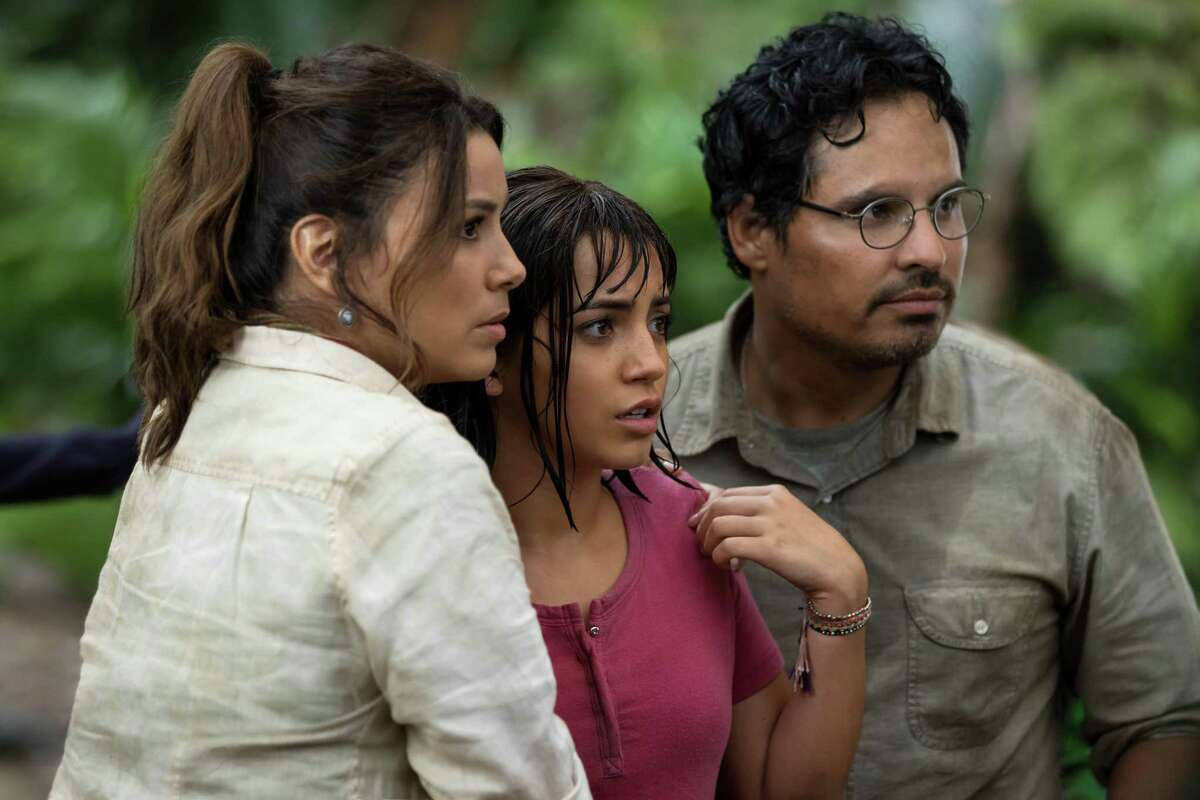 """Eva Longoria, Isabela Moner and Michael Peña star in """"Dora and the Lost City of Gold."""" The film features several Latino stars."""