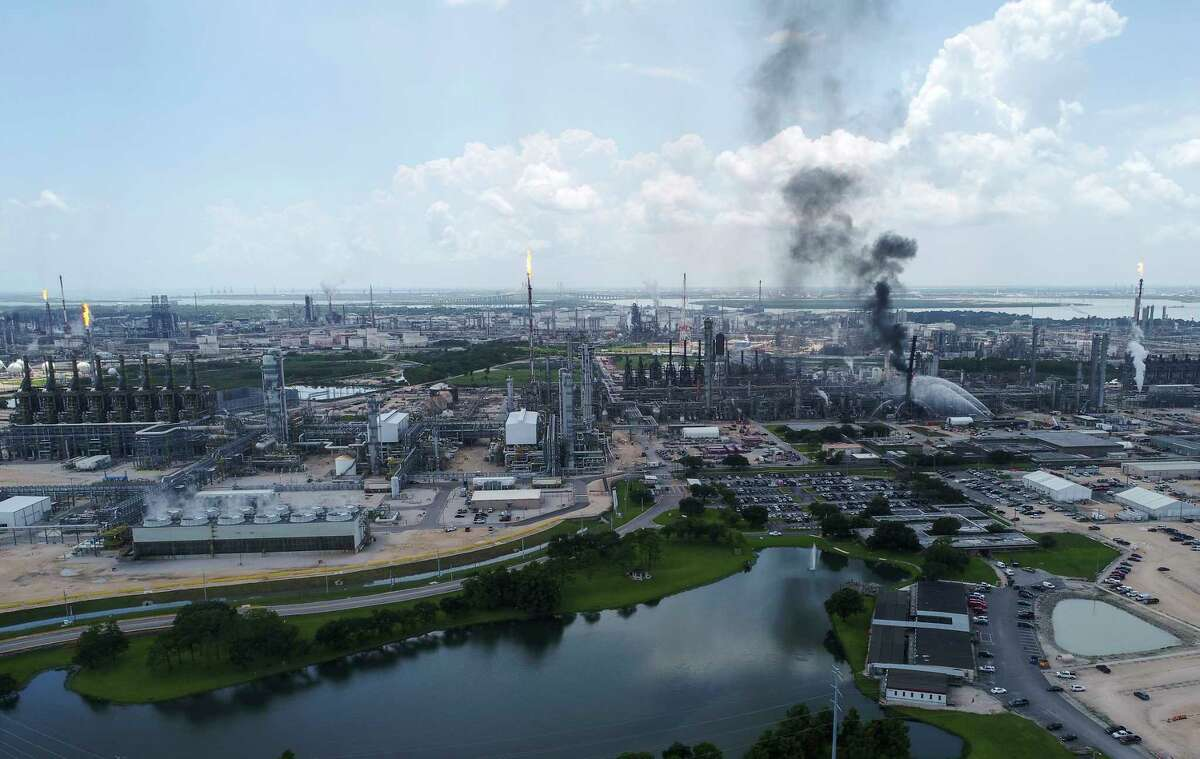 A fire burns at the Exxon Mobil Baytown Olefins Plant on Wednesday, July 31, 2019, in Baytown.