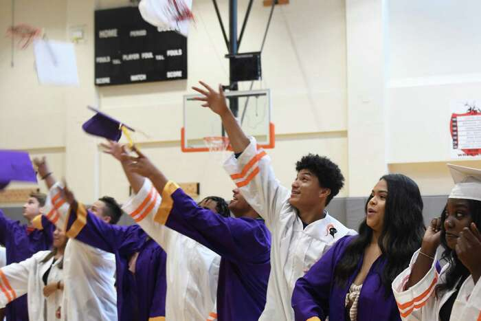 The summer high school graduation ceremony at Stamford High School in 2019, in which 27 graduates from Stamford and Westhill High Schools received their diplomas.