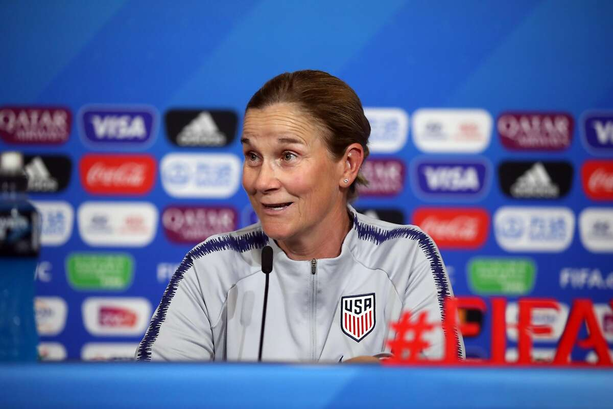 LYON, FRANCE - JUNE 30: Head coach Jill Ellis attends a USA press conference during the FIFA Women's World Cup France 2019 on July 01, 2019 in Lyon, France. (Photo by Alex Grimm/Getty Images)
