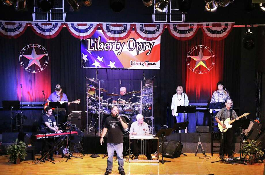 Matthew Butler of Texarkana belts out some gospel hits at the Liberty Opry last Saturday night. He is accompanied by the house band. Photo: David Taylor / David Taylor