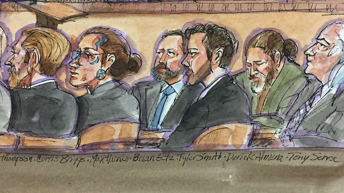 From left defense attorney for Max Harris Curtis Briggs, defendant Max Harris, defense attorney for Derick Almena Brian Getz, defense attorney for Max Harris Tyler Smith, defendant Derick Almena, and defense attorney for Almena Tony Serra listen to closing arguments on Wednesday, July 31, 2019 in Oakland, Calif.