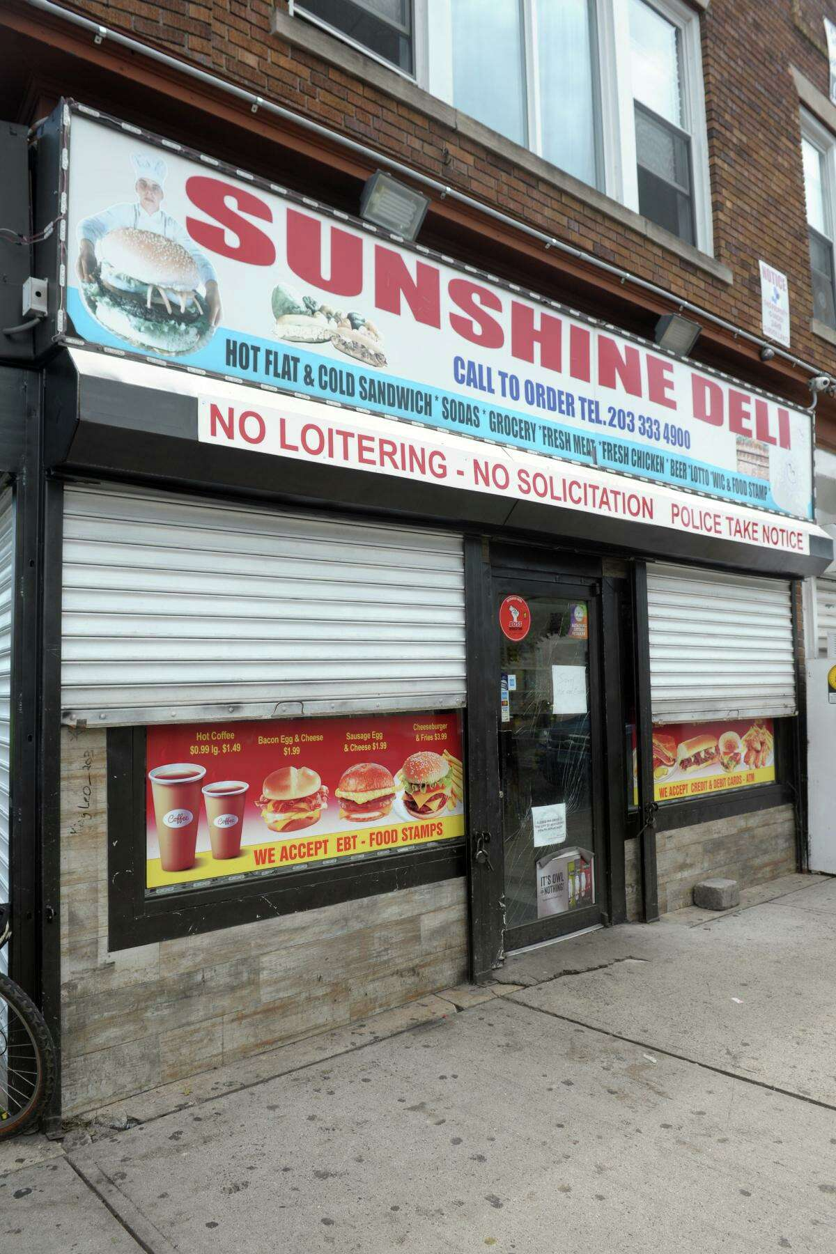 Sunshine Deli on Stratford Avenue in Bridgeport on Wednesday. Bridgeport health officials said Wednesday the deli was closed because of health code violations.