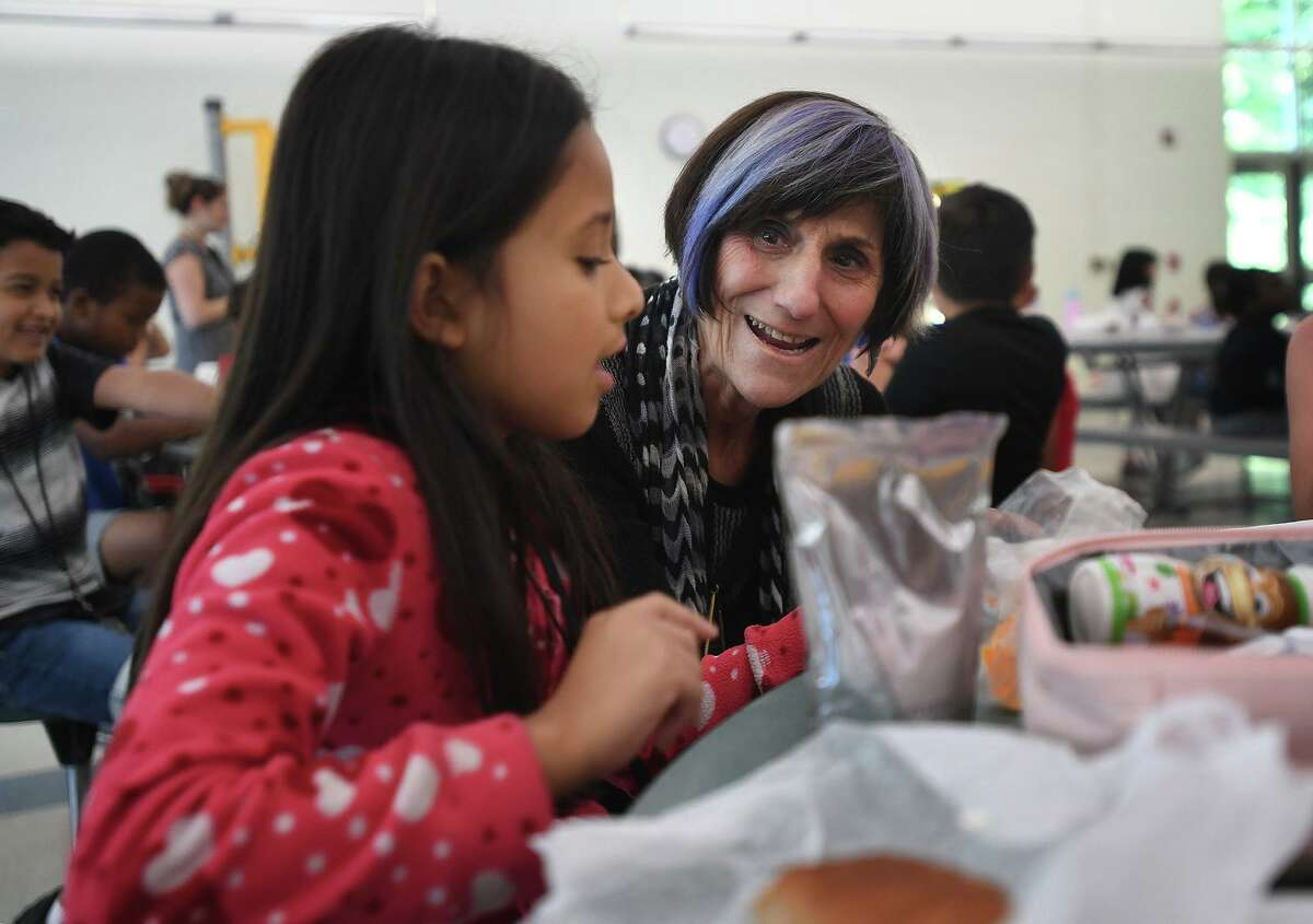 U.S. Rep. Rosa DeLauro, D-3, visits with students in the summer meals program at Mead School in Ansonia Wednesday.