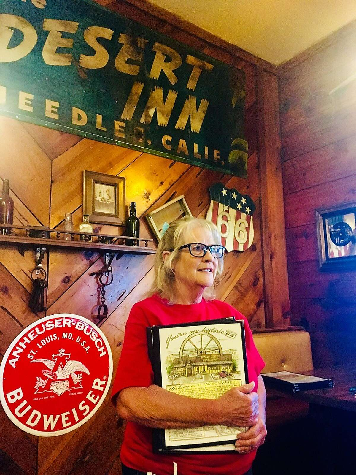 Robbie Tieman, a waitress at the Wagon Wheel restaurant, says she wishes California's gun laws were more like those just across the border in Arizona, where she lives.