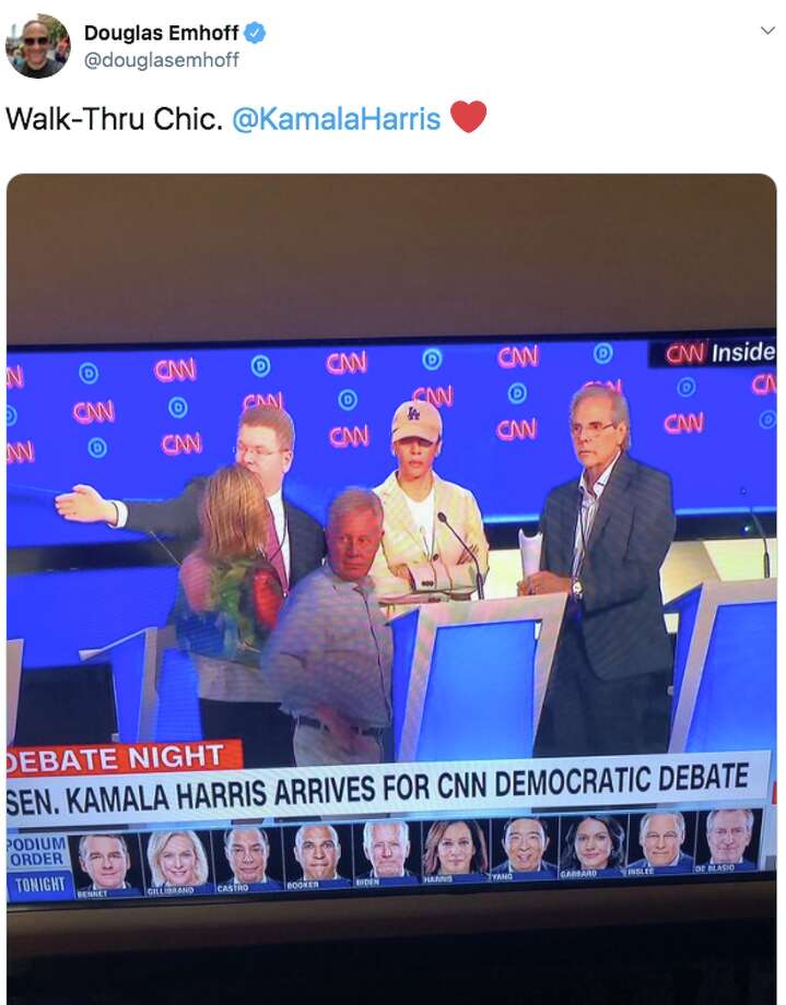 U.S. Senator Kamala Harris, who's running for the Democratic nomination for president, grew up in the East Bay and served as a public official in San Francisco for years. But she wore a hat of the Los Angeles Dodgers to prep for night two of the second Democratic debate. People had mixed feelings about Harris' fashion choice. Photo: Screenshot Via Twitter