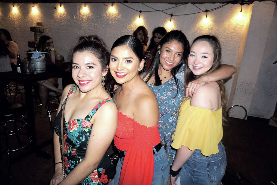 Aly Gibeaut, Karla Garcia, Emily Fernandez and Sarah Swimmer at The Happy Hour Downtown Bar Photo: Jose Gustavo Morales
