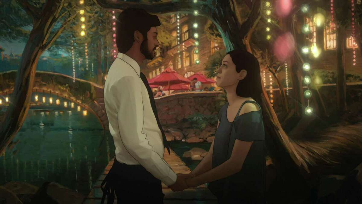 Alma (Rosa Salazar) and her boyfriend (Siddharth Dhananjay) in an animated rendering ofthe River Walk in the San Antonio-set Amazon Prime series 'Undone.'