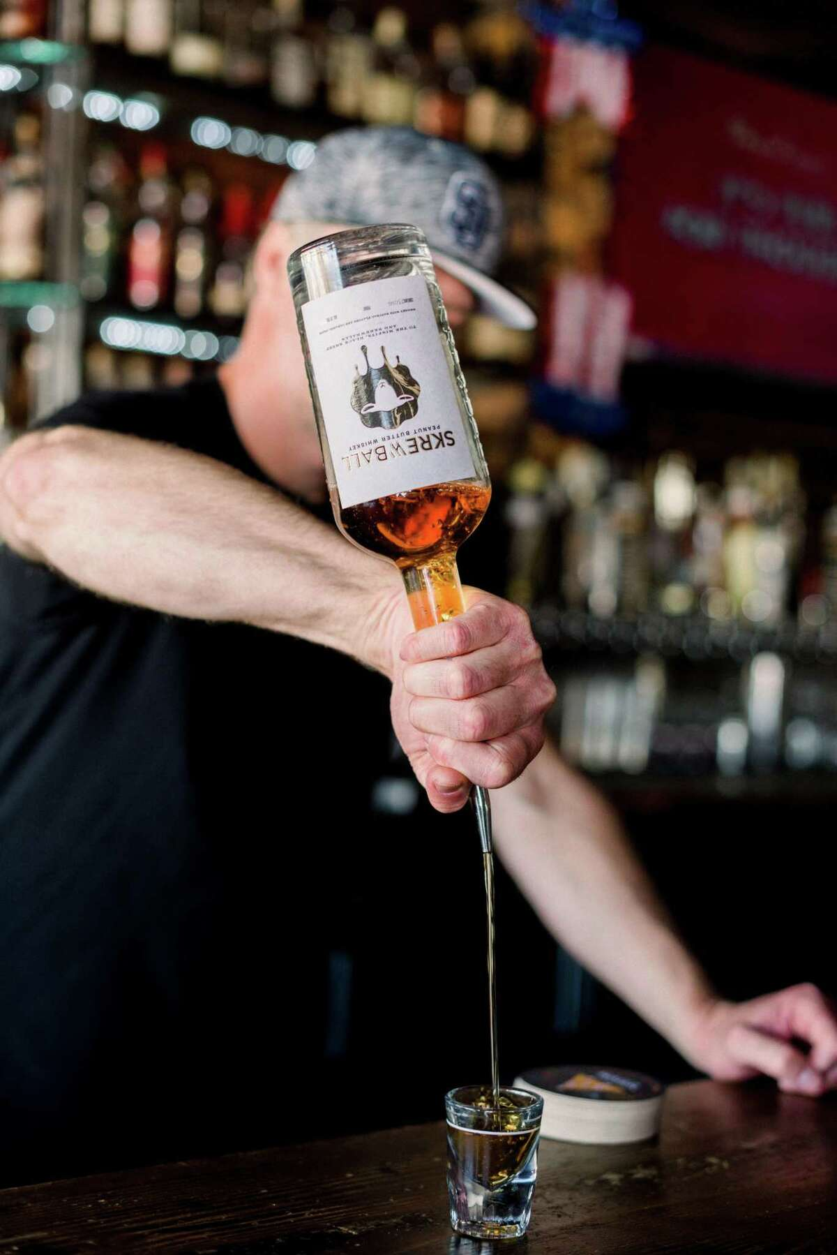 Skrewball Peanut Butter Whiskey is now available in Texas liquor stores and bars.