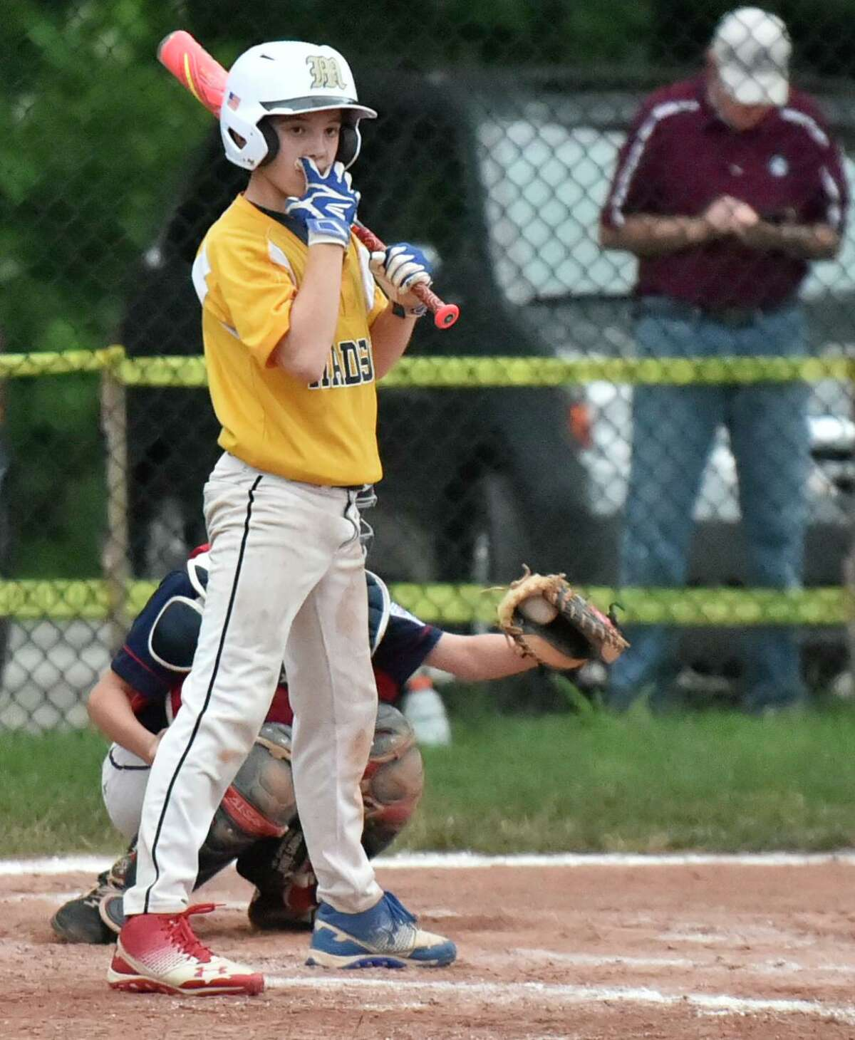Willimantic , Connecticut -Friday, July 26, 2019: Max Sinoway North Haven Little League team vs. Madison Little League during the State Championship Final Wednesday at the Willimantic Little League Lower Legion Field in Willimantic . The winner goes to Bristol Connecticut for the New England Regional Playoffs. Final Score: Madison defeated North Haven 6-0.