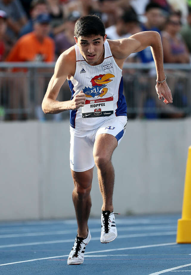 Bryce Hoppel competes in the Men's 800 Meter semifinal during the 2019 USATF Outdoor Championships at Drake Stadium on July 25, 2019 in Des Moines, Iowa. (Photo by Jamie Squire/Getty Images) Photo: Jamie Squire,  Getty Images