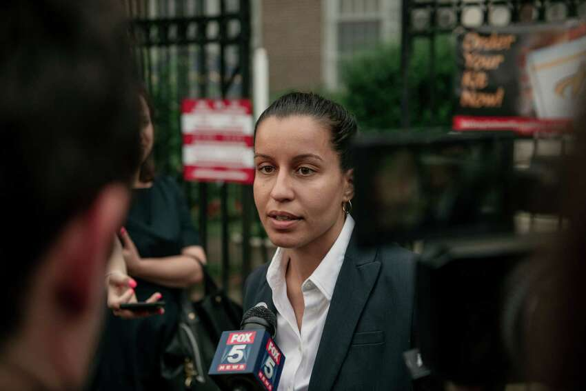 NEW YORK, NY - JUNE 25: Public defender Tiffany Caban, a candidate for Queens district attorney, speaks to the media after voting at a polling place on the day of the borough's Democratic primary election, June 25, 2019 in the Astoria neighborhood of the Queens borough of New York City. Running on a progressive platform that includes decriminalizing sex work and closing the Rikers Island jail, Caban has won the support of numerous local community groups and left wing politicians, including presidential candidates Bernie Sanders and Elizabeth Warren (Photo by Scott Heins/Getty Images)