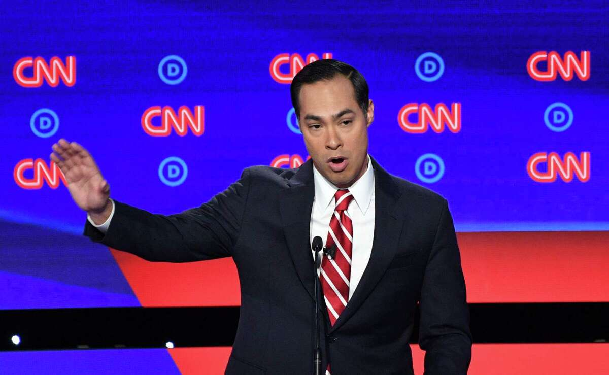 Democratic presidential hopeful Former US Secretary of Housing and Urban Development Julian Castro speaks during the second round of the second Democratic primary debate of the 2020 presidential campaign season hosted by CNN at the Fox Theatre in Detroit, Michigan on July 31, 2019. (Photo by Jim WATSON / AFP)JIM WATSON/AFP/Getty Images