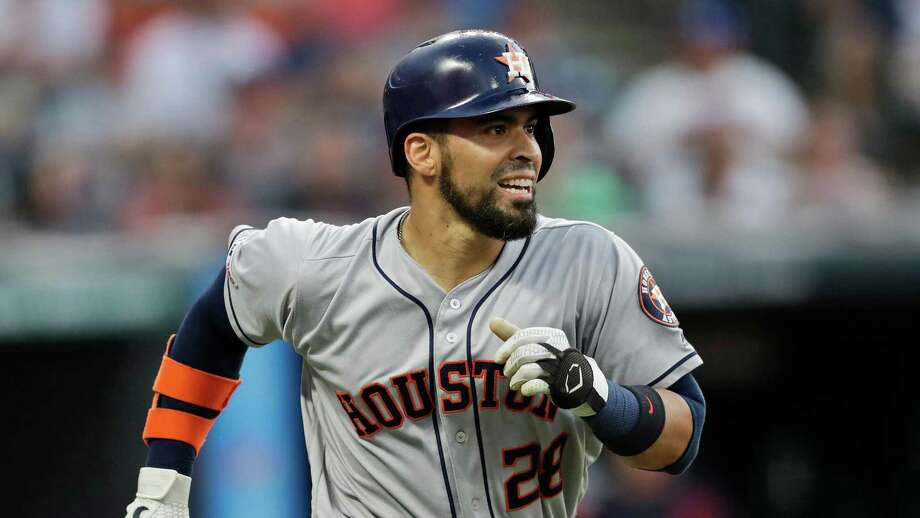 Houston Astros' Robinson Chirinos watches his ball after hitting a solo home run off Cleveland Indians starting pitcher Shane Bieber in the fifth inning of a baseball game, Tuesday in Cleveland. Photo: Tony Dejak, STF / Associated Press / Copyright 2019 The Associated Press. All rights reserved.