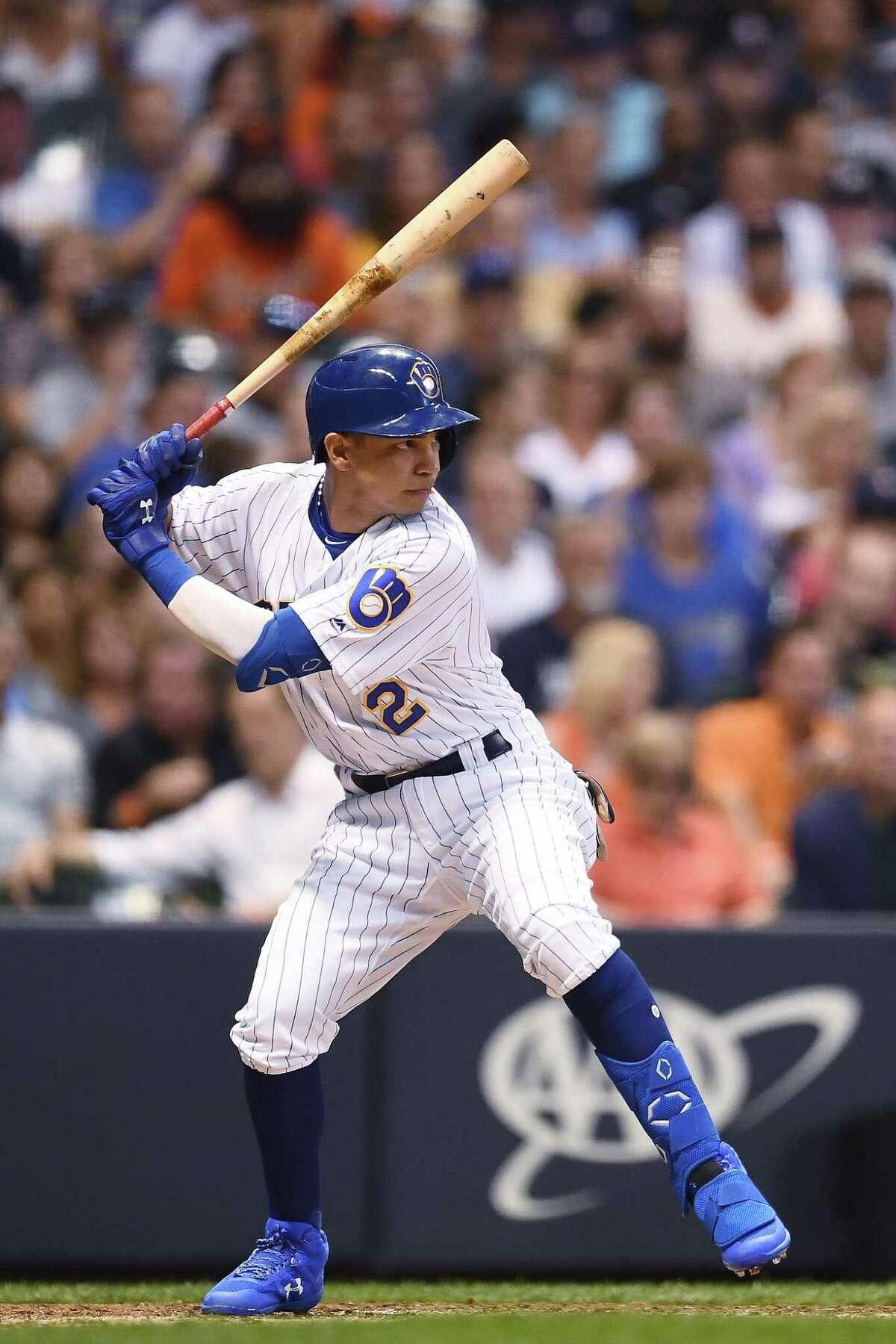 MILWAUKEE, WISCONSIN - JULY 12: Mauricio Dubon #2 of the Milwaukee Brewers at bat during a game against the San Francisco Giants at Miller Park on July 12, 2019 in Milwaukee, Wisconsin. The Giants defeated the Brewers 10-7 in 10 innings. (Photo by Stacy Revere/Getty Images)