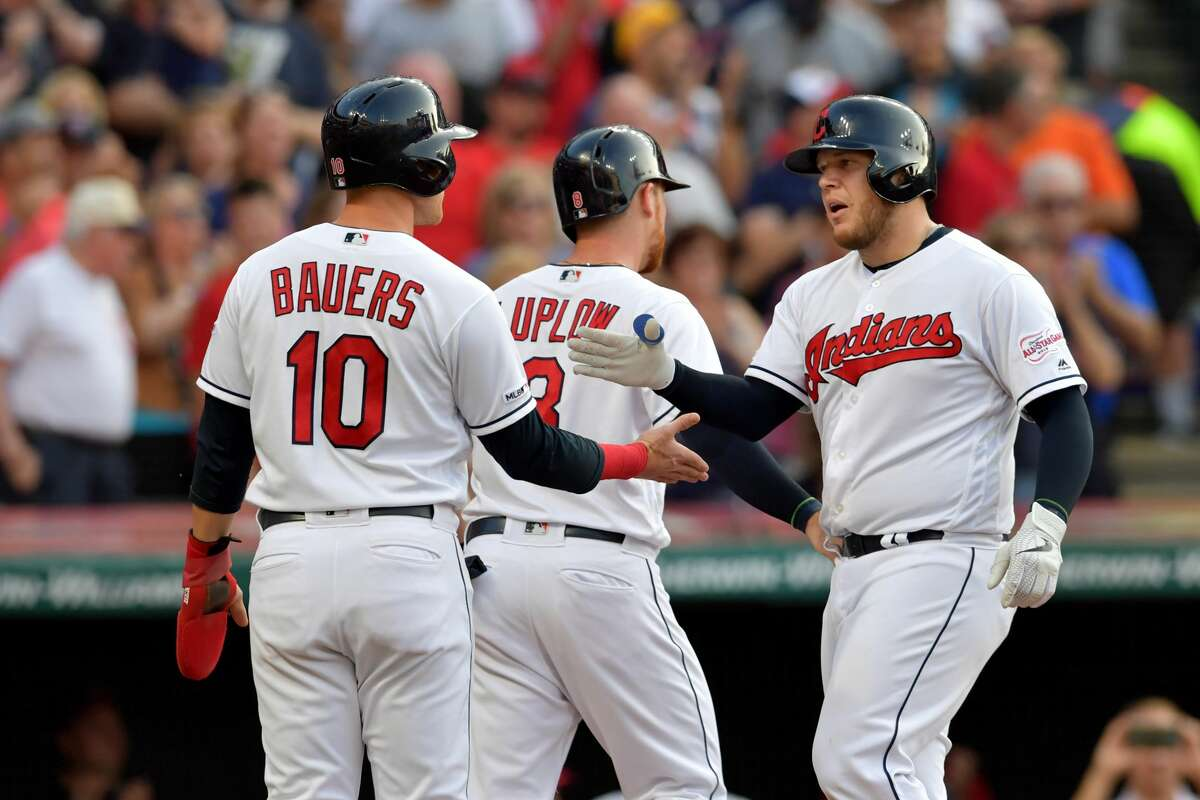 CLEVELAND, OHIO - JULY 31: Jake Bauers #10 and Jordan Luplow #8 of the Cleveland Indians celebrate with Roberto Perez #55 after all scored on a home run by Perez during the third inning against the Houston Astros at Progressive Field on July 31, 2019 in Cleveland, Ohio. (Photo by Jason Miller/Getty Images)