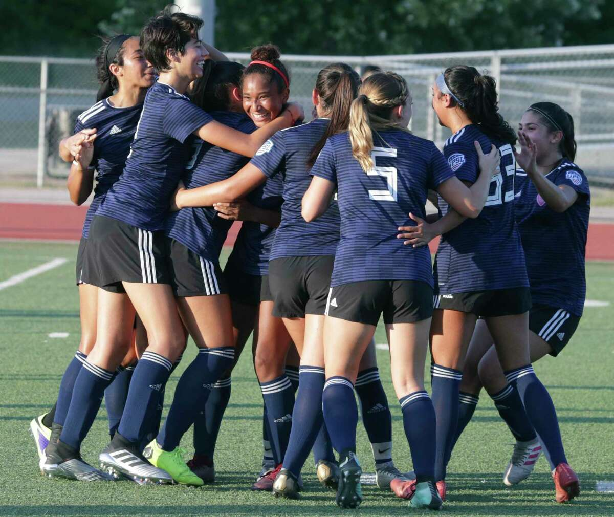 Sporti players celebrate a goal at the the United Premier Soccer League Central Conference final between San Antonio women's soccer teams Sporti FC and Samba FC at Wheatley Heights Sports Complex on July, 27 2019.
