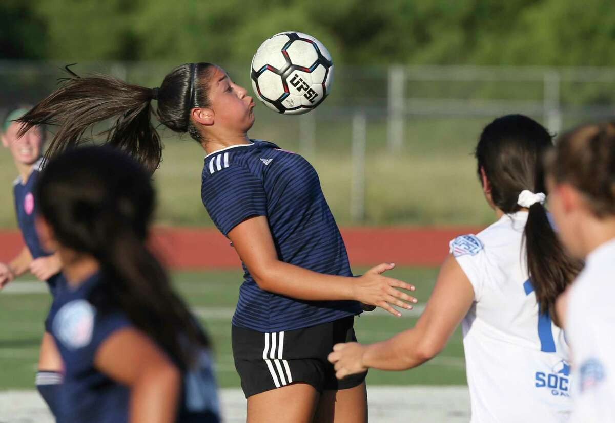 A Sporti player controls the ball at the United Premier Soccer League Central Conference final between San Antonio women's soccer teams Sporti FC and Samba FC at Wheatley Heights Sports Complex on July, 27 2019.