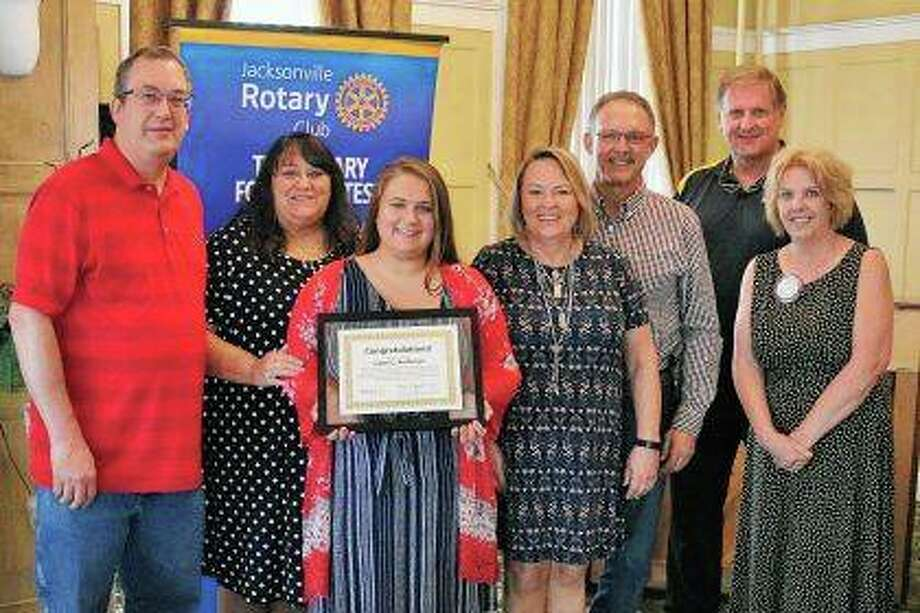Gene Hinckley (from left), Charlene Anderson-Hinckley, Camri Anderson, Susan Weikert, Dick Weikert, Rotary Scholarship Chair Allen Stare and Rotarian Cathy Jo Littleton-Wahl. Photo: Photo Provided