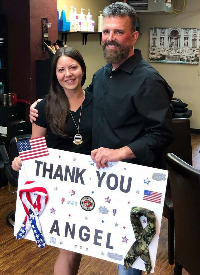 Jessica Rabasco learns that John Rubino is a match and will be donating a kidney to her during a surprise announcement at Tagliare Salon in Stamford. Photo: Contributed Photo / New Canaan Advertiser Contributed