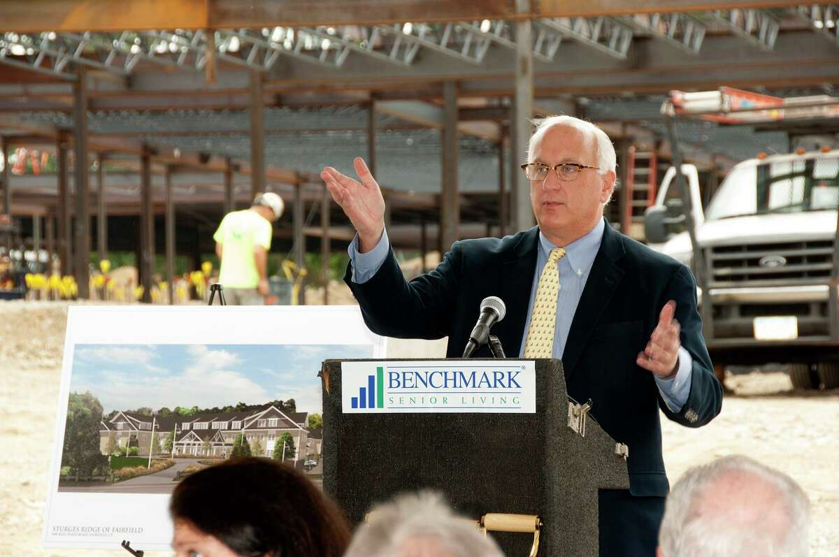 Benchmark Senior Living founder Tom Grape in September 2017 at the construction site for the Sturges Ridge at Fairfield assisted living facility in Fairfield, Conn. (Photo via PRNewswire)